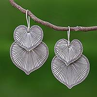 Silver dangle earrings, 'Lotus Romance' - Heart Shaped 950 Silver Earrings