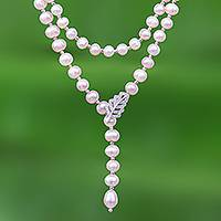 Cultured pearl Y-necklace, 'Beautiful Frond in Pink' - Pink Cultured Pearl Y-Necklace with Cubic Zirconia