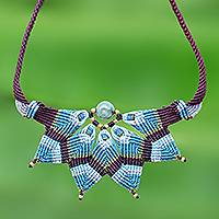 Agate macrame pendant necklace, 'Bohemian Star' - Agate Macrame Statement Necklace from Thailand