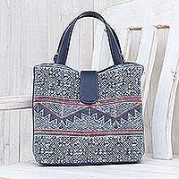Cotton batik shoulder bag, 'Hmong Trek' - Cotton Batik and Faux Leather Shoulder Bag