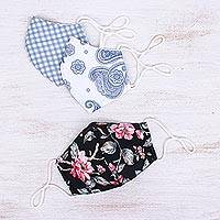 Cotton face masks, 'Lovely Spirit' (set of 3) - 3 Thai Handmade Cotton Print Face Masks with Filter Pockets