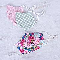 Cotton face masks, 'Happy Spirit' (set of 3) - 3 Handmade Floral & Gingham Cotton Masks with Filter Pockets