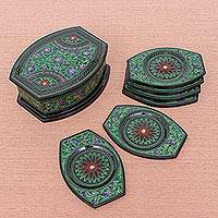 Lacquered wood coaster set, 'Nature's Revelation in Green' (set of 6) - Hand Crafted Thai Lacquerware Coaster Set (Set of 6)