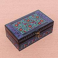 Lacquered wood jewelry box, 'Red Daisies' - Handcrafted Red & Black Floral Thai Lacquered Jewelry Box