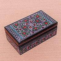 Lacquered wood box, 'Poppy Pinwheel' - Handcrafted Poppy Blossom Thai Lacquered Wood Box