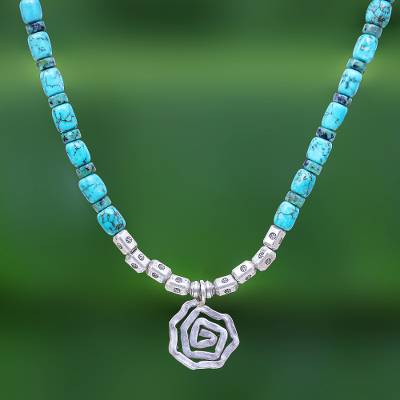 Reconstituted turquoise bead pendant necklace, 'Spiral Sea' - Reconstituted Turquoise Bead Karen Silver Pendant Necklace