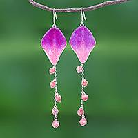Orchid petal dangle earrings, 'Orchid Kite in Pink' - Pink Natural Flower Petal Earrings from Thailand
