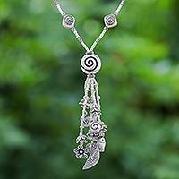 Silver Y-necklace, 'Forest and Sea' - Karen Silver Charm Y-Necklace Land and Sea Creatures