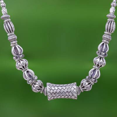 Silver beaded necklace, 'Tribal Karen' - 950 Karen Hill Tribe Silver Bead Necklace