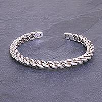 Sterling silver cuff bracelet, 'Midnight Unity' - Sterling Silver Cuff Bracelet Linked Chain Motif