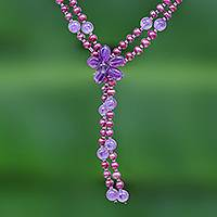 Cultured pearl and amethyst beaded choker, 'Summer Nights' - Beaded Cultured Pearl and Amethyst Choker