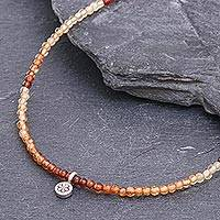 Hessonite garnet and silver pendant necklace, 'Cinnamon Girl' - Hessonite Garnet Beaded Pendant Necklace