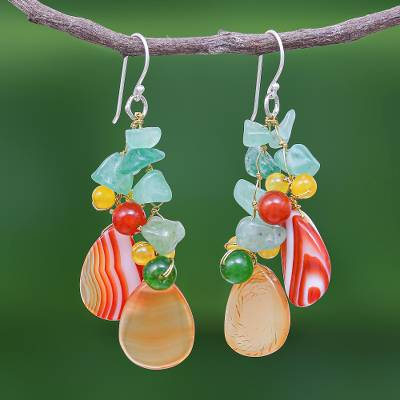 Multi-gemstone dangle earrings, 'Candy Mood' - Multi-gemstone Dangle Earrings on Sterling Silver Hooks