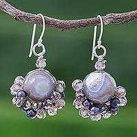 Agate and cultured pearl dangle earrings, 'Vivid Dream in Grey' - Grey Agate and Cultured Pearl Dangle Earrings