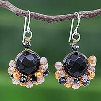 Onyx and cultured pearl dangle earrings, 'Vivid Dream in Orange' - Black Onyx and Orange Freshwater Pearl Dangle Earrings