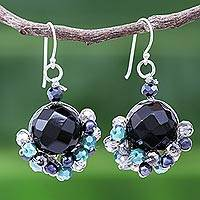 Amethyst and cultured pearl dangle earrings, 'Vivid Dream in Teal' - Onyx and Freshwater Pearl Dangle Earrings