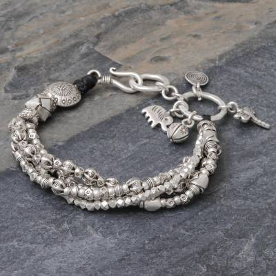 Silver beaded bracelet, 'Karen Celebration' - Karen Hill Tribe 950 Silver Beaded Bracelet