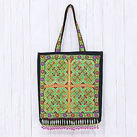 Cotton tote, 'Green Hmong' - Colorful Cotton Hmong Tote Bag with Magnetic Snap