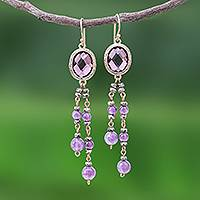 Gold plated amethyst waterfall earrings, 'Chiang Rai Twilight' - Amethyst Earrings in 18k Gold Plated Brass