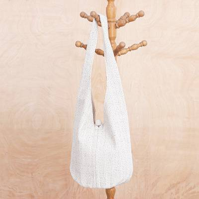 Cotton hobo shoulder bag, 'Pure Thai' - Alabaster White Cotton Hobo Handbag