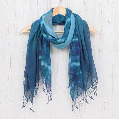 Cotton scarves, 'Sea of Love' (pair) - Pair of Cotton Scarves in Shades of Blue
