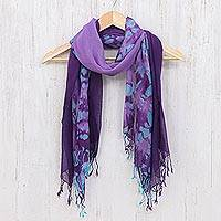 Cotton scarves, 'Sky of Love' (pair) - Pair of Cotton Scarves in Shades of Blue