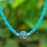 Agate pendant necklace, 'Earth and Water' - Reconstituted Turquoise Bead and Agate Pendant Necklace