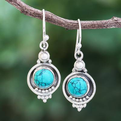 Sterling silver dangle earrings, 'Classic Moon' - Reconstituted Turquoise Sterling Silver Dangle Earrings