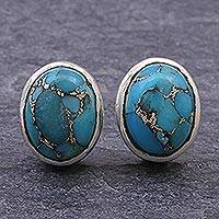 Sterling silver stud earrings, 'Flash of Love in Blue' - Reconstituted Turquoise and Sterling Silver Stud Earrings