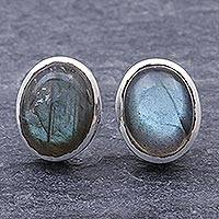 Labradorite stud earrings, 'Flash of Love in Grey' - Labradorite Cabochon and Sterling Silver Stud Earrings