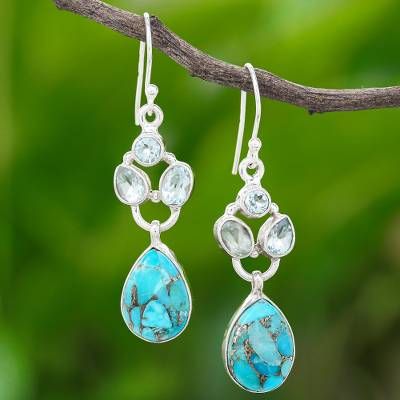 Blue topaz dangle earrings, 'Love Galaxy in Blue' - Blue Topaz and Reconstituted Turquoise Dangle Earrings