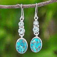 Blue topaz dangle earrings, 'Asterism in Blue' - Reconstituted Turquoise and Blue Topaz Dangle Earrings