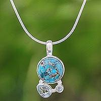Blue topaz pendant necklace, 'Love Orbit in Blue' - Reconstituted Turquoise and Blue Topaz Pendant Necklace