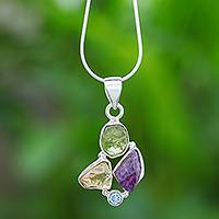 Multi-gemstone pendant necklace, 'Sweets for the Sweet' - Multi-Gemstone Pendant Necklace on Sterling Silver Chain
