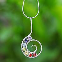 Multi-gemstone pendant necklace, 'Spiral Peace' - Bezel Set Multi-Gemstone Spiral Chakra Pendant Necklace