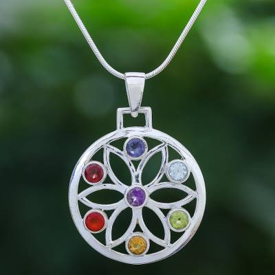 Multi-gemstone pendant necklace, 'Blossom Chakra' - High Polish Sterling Silver Gemstone Flower Pendant Necklace