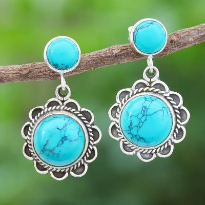 Sterling silver dangle earrings, 'Scenic Moon' - Sterling Silver Flower Earrings with Reconstituted Turquoise