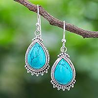 Sterling silver dangle earrings, 'Ancient Raindrops' - Sterling Silver and Reconstituted Turquoise Dangle Earrings