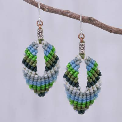 Macrame dangle earrings, Mini Boho in Blue-Green