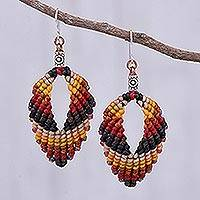 Macrame dangle earrings, 'Mini Boho in Earth' - Macrame and Bead Dangle Earrings