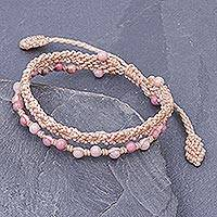 Rhodonite beaded macrame bracelet, 'Dear Friend in Pink' - Macrame and Rhodonite Beaded Bracelet