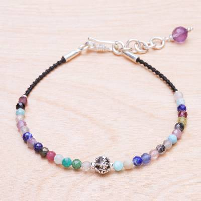 Multi-gemstone beaded cord bracelet, 'Rainbow Sunset' - Multi-Gemstone Beaded Cord Bracelet with Karen Silver
