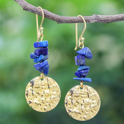 Lapis lazuli dangle earrings, 'Golden Coin in Blue' - Handmade Lapis Lazuli Chip and Brass Coin Dangle Earrings