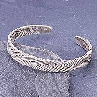 Sterling silver cuff bracelet, 'Artistic Twist' - Thai Hand Crafted Braided Sterling Silver Cuff Bracelet