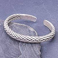 Sterling silver cuff bracelet, 'Silver Plaits' - Artisan Crafted Sterling Silver Cuff Bracelet