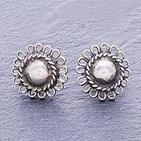 Silver button earrings, 'Sunflower Loops' - Hand Made Karen Silver Sunflower Button Earrings