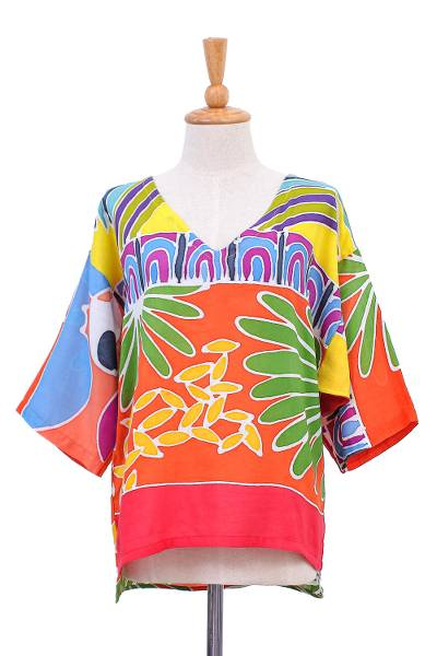 Cotton batik blouse, 'Beach Party' - Tropical Patterned Cotton Batik Blouse from Thailand