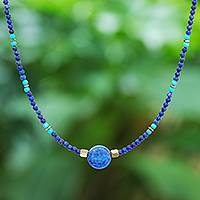 Multi-gemstone beaded pendant necklace, 'Star of Midnight' - Lapis Lazuli Howlite Beaded Pendant Necklace