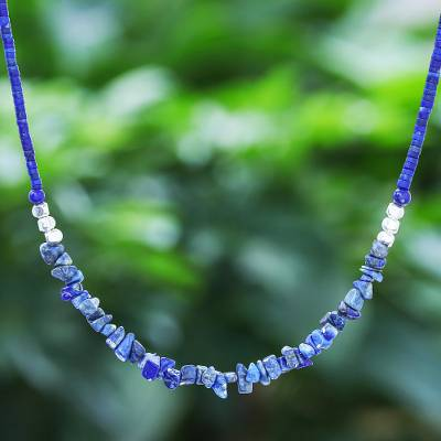 Lapis lazuli beaded necklace, 'Nature's Finest Hour' - Lapis Lazuli and Karen Silver Beaded Necklace