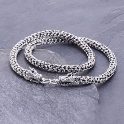 Sterling silver chain necklace, 'Dragon Master' - Hand Made Sterling Silver Naga Chain Dragon Necklace